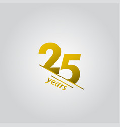 25 years anniversary celebration gold line vector