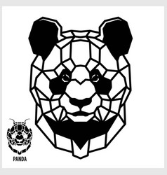 abstract linear polygonal head a panda vector image