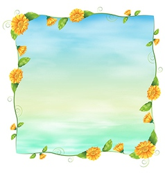 An empty blue template with yellow flowers vector image