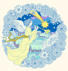 Angel with trumpet - in three colors vector