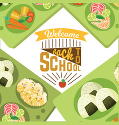 Back to school flat poster composition of pupils vector