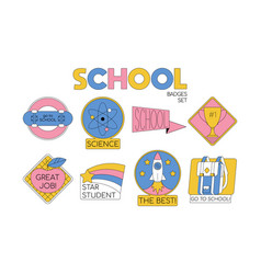 back to school set collection badges vector image