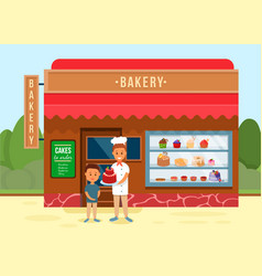 bakery shop with chef giving cake to boy banner vector image
