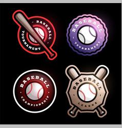 baseball circular logo set modern professional vector image