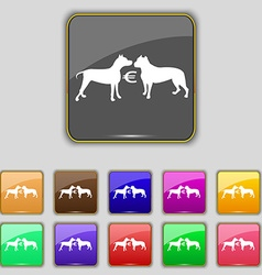 Betting on dog fighting icon sign Set with eleven vector