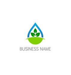 bio droplet ecology green leaf logo vector image