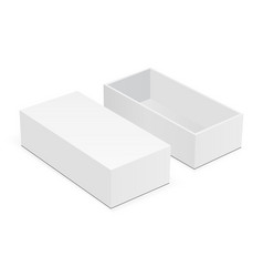 Blank rectangular box mock up with lid vector