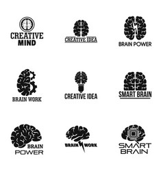 Brain work logo set simple style vector