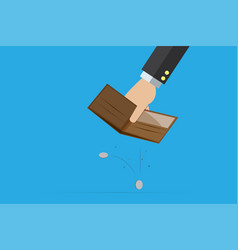 Business hand holding empty wallet with coins vector