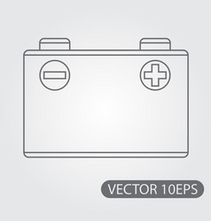 car battery icon black and white outline drawing vector image
