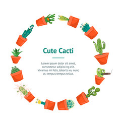 cartoon funny cactus characters banner card circle vector image