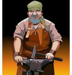 cartoon male blacksmith worker with hammer vector image vector image