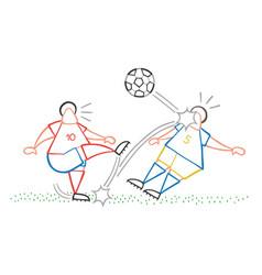 cartoon soccer player man kicking ball and vector image