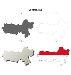 Central Java blank outline map set vector