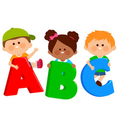 Children holding colorful letters vector