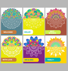 collection of color cards with vintage decorative vector image