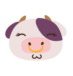 Colorful glad cow head wild animal vector