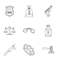 Crime icons set outline style vector