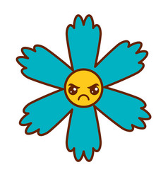 cute blue flower kawaii cartoon vector image