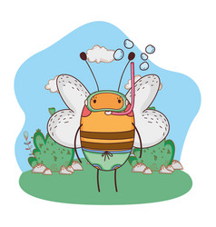 cute little bee with snorkel in the camp vector image