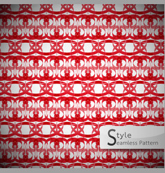 Damask red lattice ribbon vintage geometric vector
