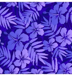 Dark blue tropical flowers seamless pattern vector image