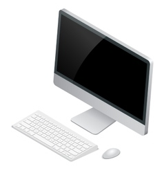 Desktop computer with wireless keyboard and mouse vector