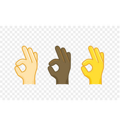 Different color hand gesture comic style icon okay vector