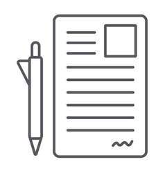 document and pen thin line icon office and paper vector image