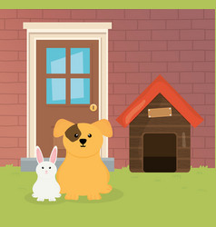 Dog and rabbit house garden pet care vector