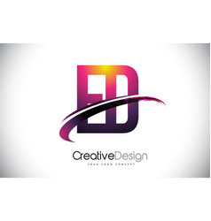 Ed e d purple letter logo with swoosh design vector