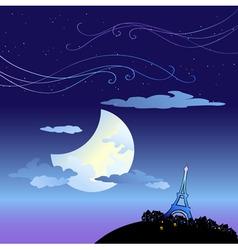 Eiffel tower at dusk vector