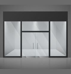 Empty fashion store shop with big glass window vector