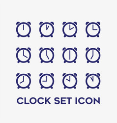 Every hour clock timer icon set vector