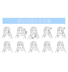 Eye cream application steps vector
