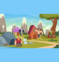 fairytale background funny cartoon houses vector image