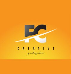 Fc f c letter modern logo design with yellow vector