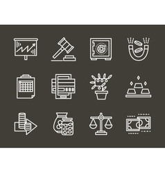 Finance strategy white simple line icons vector image
