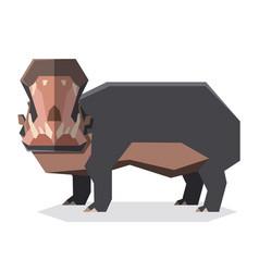 flat geometric hippopotamus3 vector image
