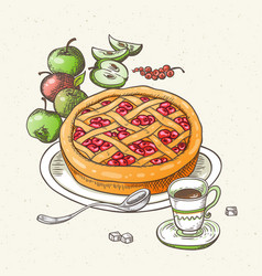 fruit pie apples and cup of coffee vector image