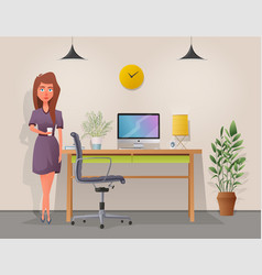 Funny business character working vector