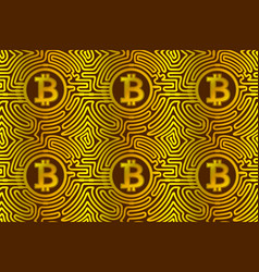Golden pattern with bitcoins vector
