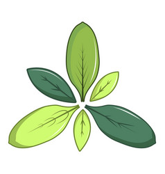 Green leaves icon cartoon style vector