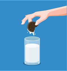 hand dip cookies sandwich chocolate in fresh milk vector image