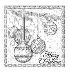 hand drawing christmas ball card design vector image