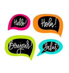 hello speech bubbles lettering english vector image