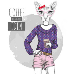Hipster fashion animal sphynx cat with coffee vector