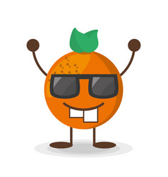 Kawaii orange glasses character vector