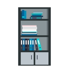 Large bookcase with different books isolated vector