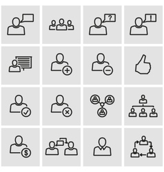 Line office people icon set vector